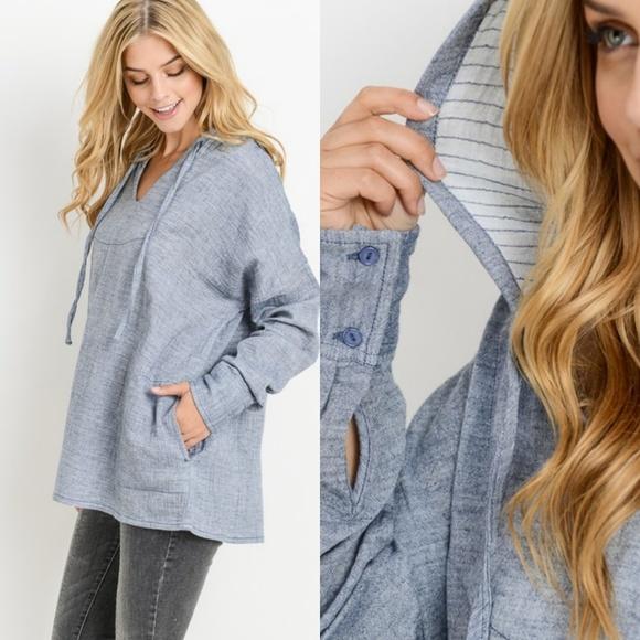 Tops - Oversized soft Denim hooded shirt
